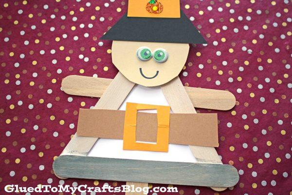 Popsicle Stick Pilgrim Puppet - Kid Craft