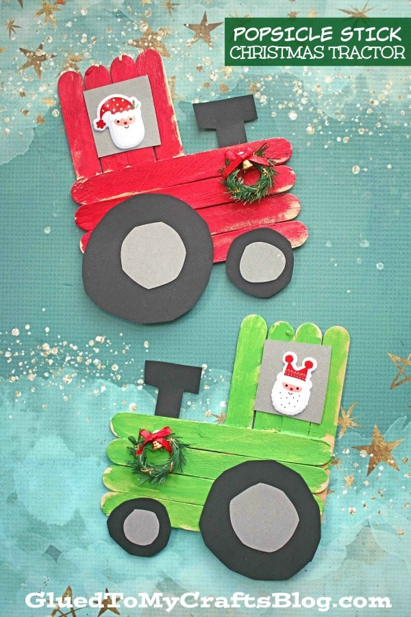 Popsicle Stick Christmas Tractor - Kid Craft