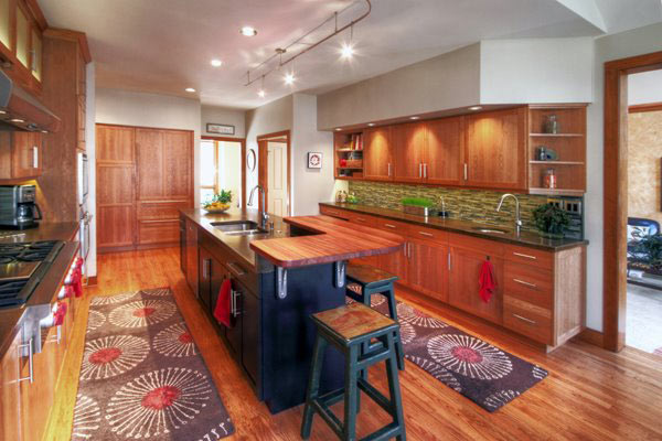 Brazilian Cherry Wood Countertop Raised Bar In Pennsylvania