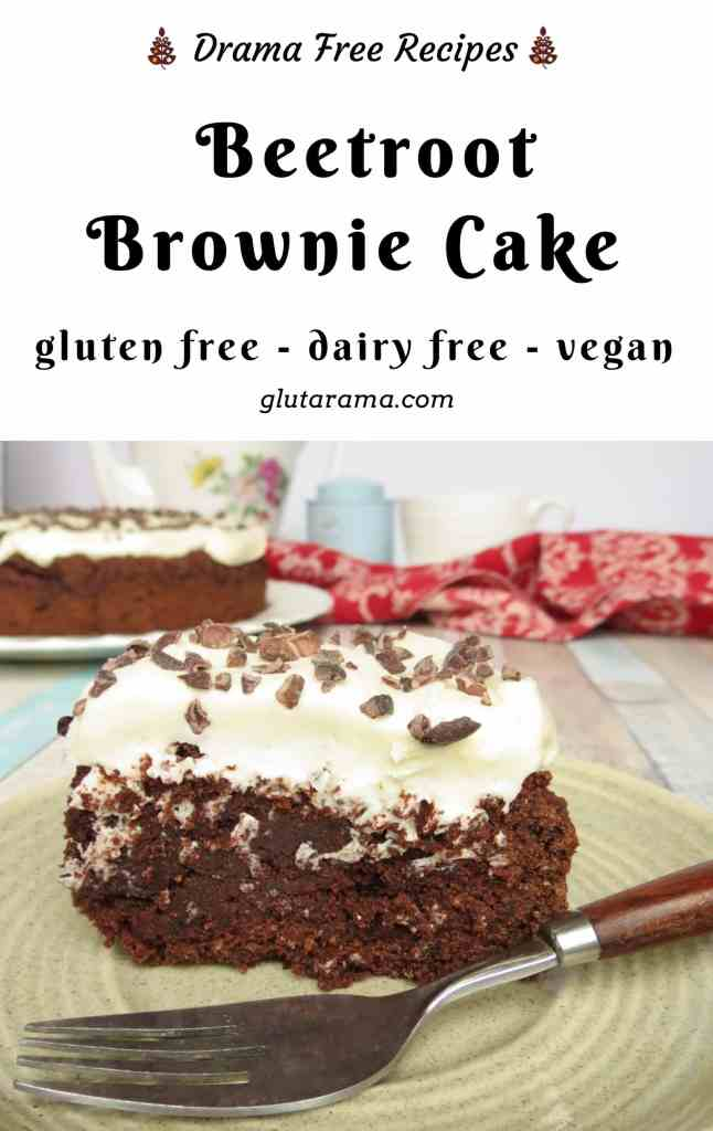 Chocolate Beetroot Brownie Cake - this is not just gluten free but also dairy free and vegan too. Rich, deep in flavour and oh so moist. A freefrom success #glutenfree #daryfree #eggfree #nutfree #vegan #reducedsugar #healthy #brownie #chocolate