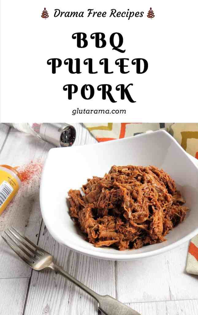 BBQ Pulled Pork; gluten free and simple to make in a slow cooker. Perfect for cosy warm nights or family gatherings for a help-yourself buffet #glutenfree #bbq #freefrom #pulledpork #comfortfood #easy #simple #slowcooker