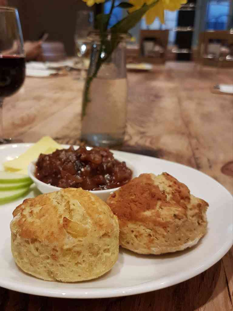 Georgian House Vegan Afternoon Tea - cheese scones and spicy chutney