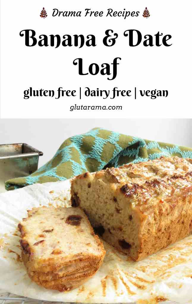 Gluten Free and Vegan Banana and Date Loaf - by Glutarama. Easy to make and super moist too. #glutenfree #vegan #eggfree #dairyfree #picnic #recipe #freefrom #allergyfriendly #bananaloaf #banana