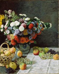 "Painting: ""Still Life with Flowers and Fruit"" by Claude Monet"