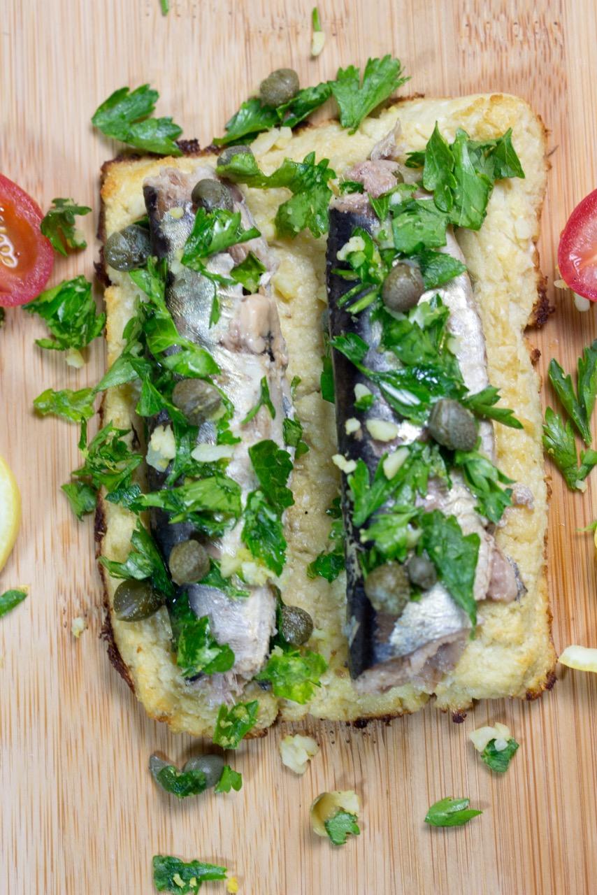 Sardines on Cauliflower Toast with Gremolata