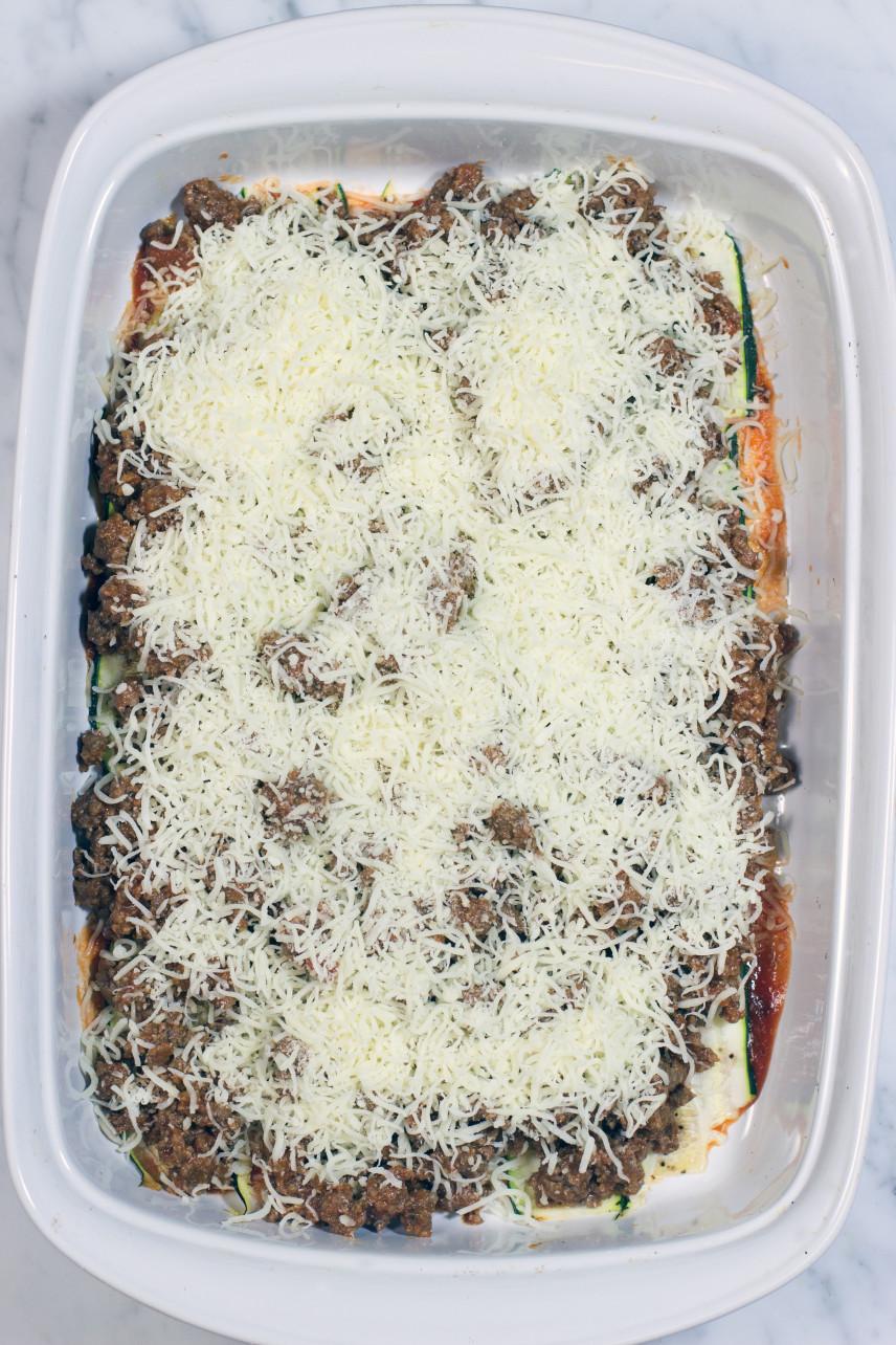 gluten free zucchini, sausage, grass fed, beef, casserole