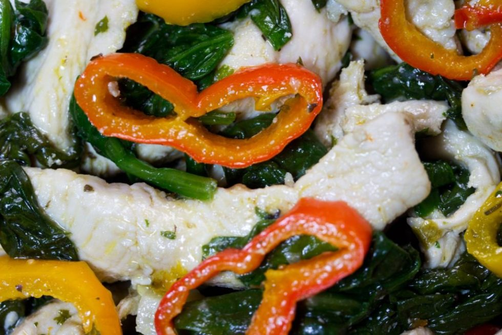 Easy Paleo Chicken With Baby Spinach, And Mini Sweet Peppers