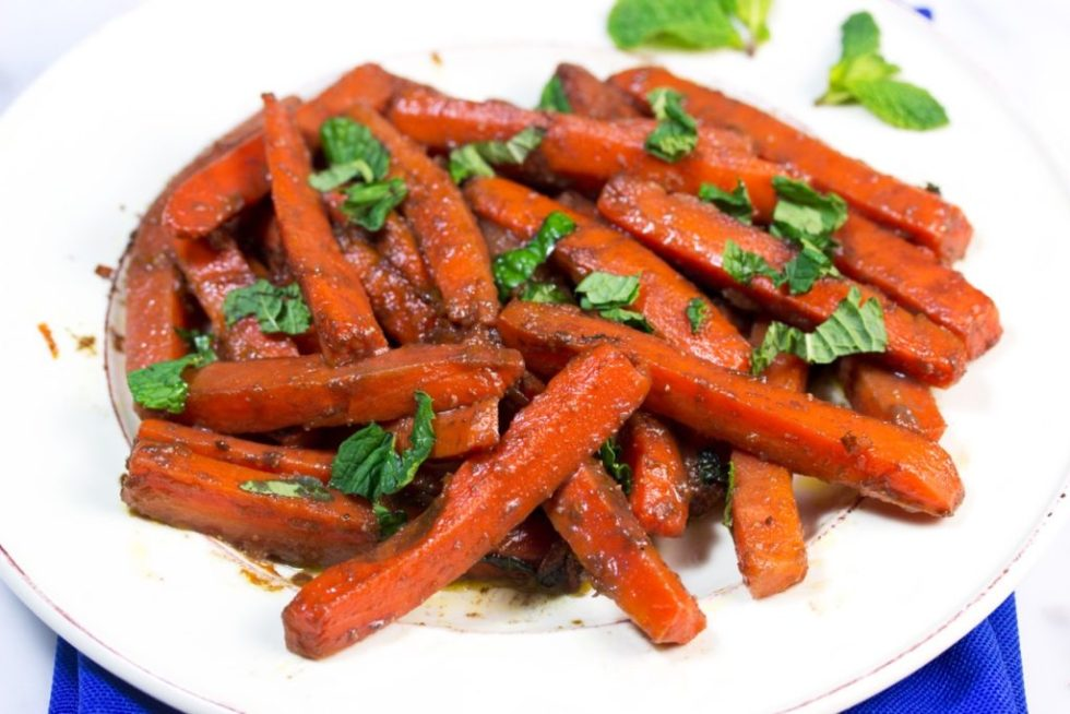 POMEGRANATE, BALSAMIC, AND RAW HONEY GLAZED CARROTS