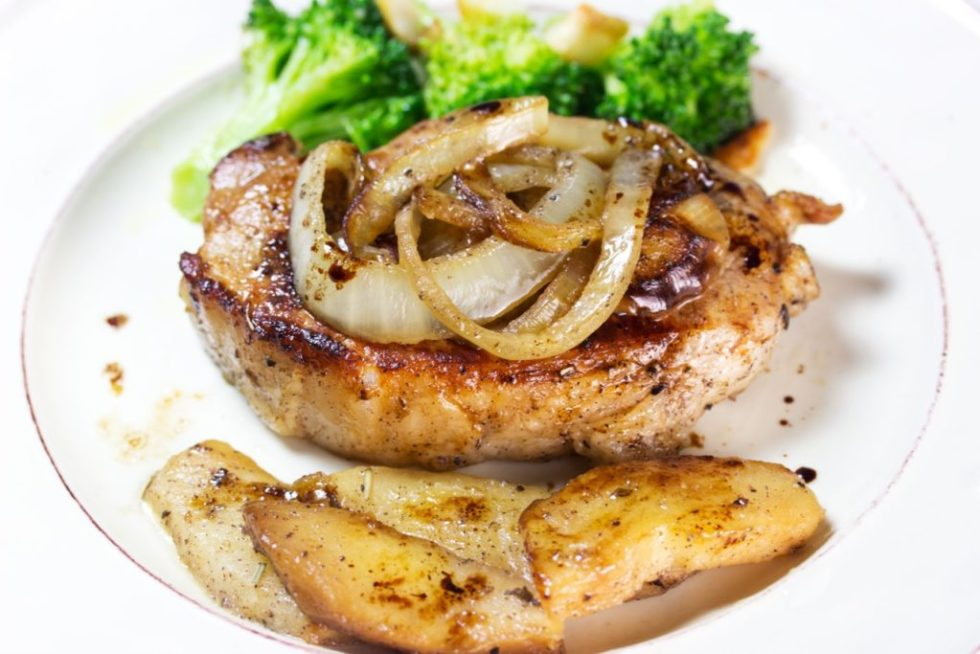 Click on the pin for incredible offer on ButcherBox quality meats | Scrumptious recipe with Heritage Breed pork chops | Pan seared pork chops with sweet onions and apples | gluten free recipe | paleo recipe |