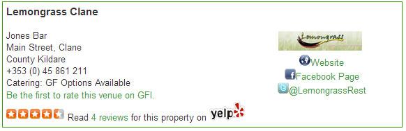 yelp listing on gluten free ireland