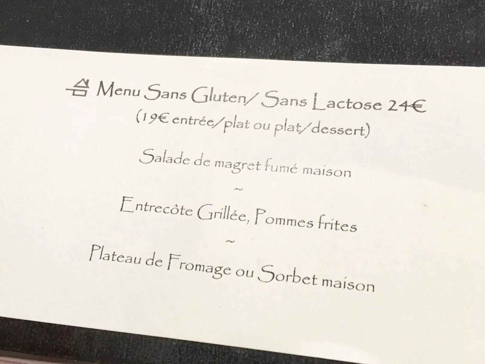 Sans gluten menu France