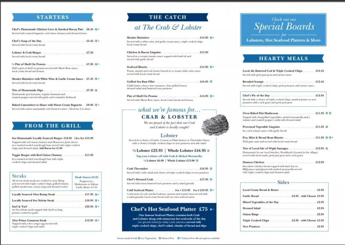 Gluten free items on Crab and Lobster menu
