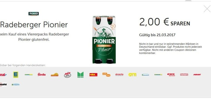 Radeberger Pionier Pils Coupon