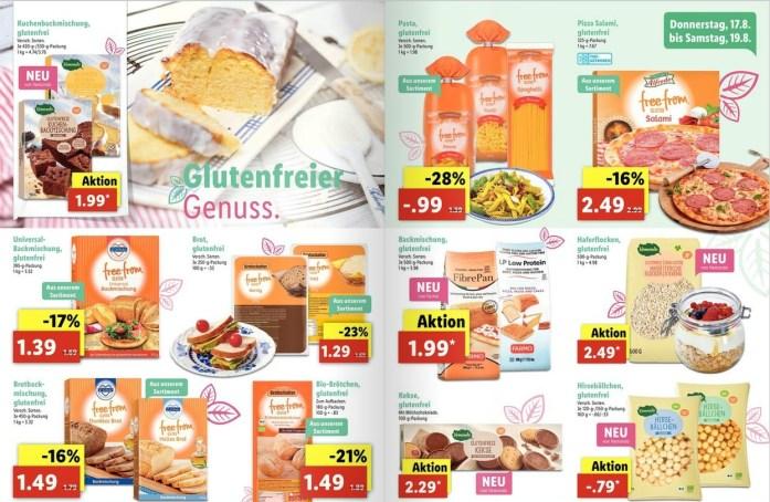glutenfreie Produkte bei Lidl im Angebot