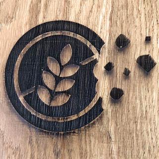 broodplank met Glutenvrij logo