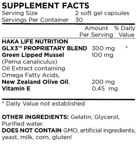 GLX3 Ingredient Label
