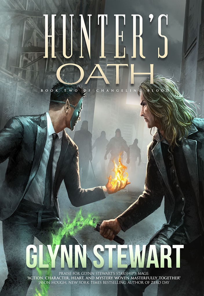 Hunter's Oath, book two in the Changeling Blood series, by Glynn Stewart. Wizards, shifters, fae (both Seelie and UnSeelie far courts), and kami--set in urban fantasy Calgary.