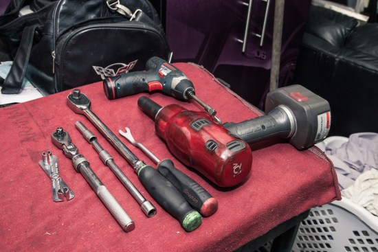 For the most part, these are the only tools Jeremy brings to the dyno when he makes a supercharger swap. He makes primary use of both an 8mm and 10mm socket, as well as a speed handle.
