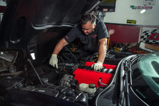 After our baseline pull, Greg kept the Vette strapped to the dyno. He started things off by unplugging the mass air meter, A.I.R. attachment, and loosened all clamps.