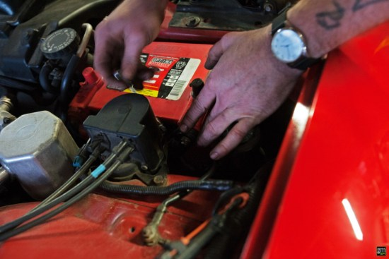 Whenever you're dealing with electronics or electrical systems associated with your car, it's always best (and usually recommended) to disconnect the battery first.
