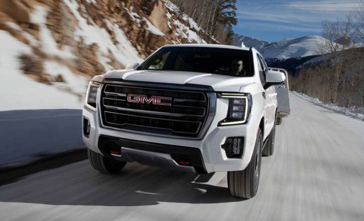 On the exterior of 2022 GMC Yukon Concept adds LED headlamps