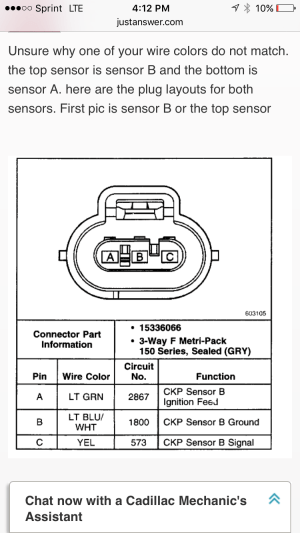 Crankshaft position sensor connectors  GM Forum  Buick