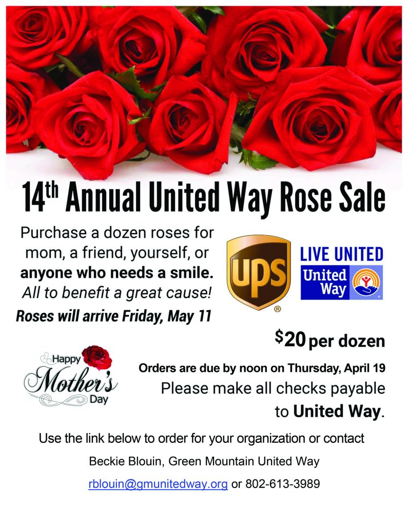 2f617bc1a6cf 14th Annual United Way Mother s Day Rose Sale