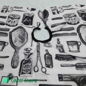 Kep Potong Rambut Motif Alat Salon Jas Cukur Hitam Abu-Abu Impor C214