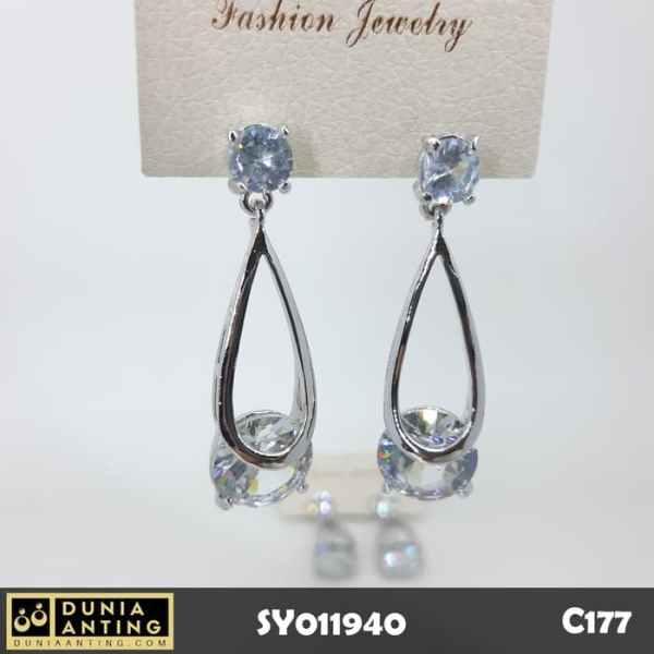 C177 Perhiasan Anting Double Permata Kristal Swarovski Platinum 5cm
