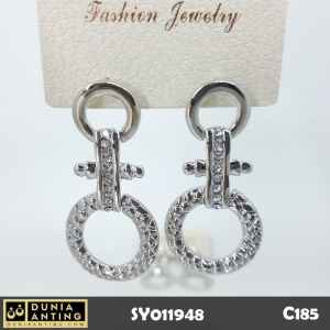 C185 Anting Gantung Model Cross Circle Permata Swarovski Silver 5,7cm