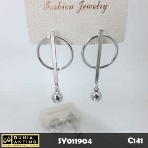 C141 Perhiasan Anting Tusuk Circle Ball Silver Earings Platinum 4,2 cm
