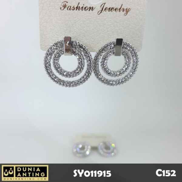 C152 Anting Giwang Double Round Swarovski Silver Platinum Timbul 2,5cm