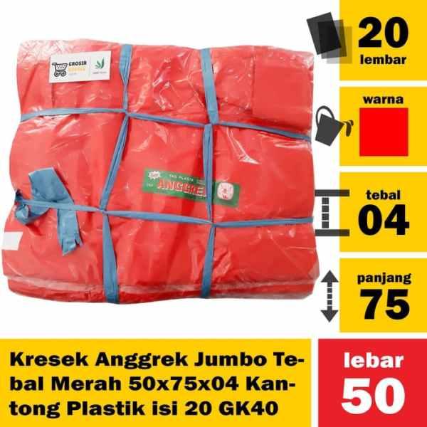Kresek Anggrek Jumbo Tebal Merah 50x75x04 Kantong Plastik isi 20 GK40