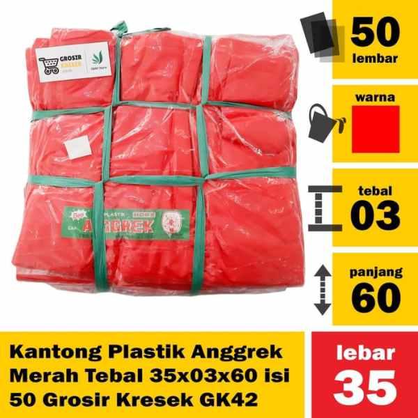 Kantong Plastik Anggrek Merah Tebal 35x03x60 isi 50 Grosir Kresek GK42
