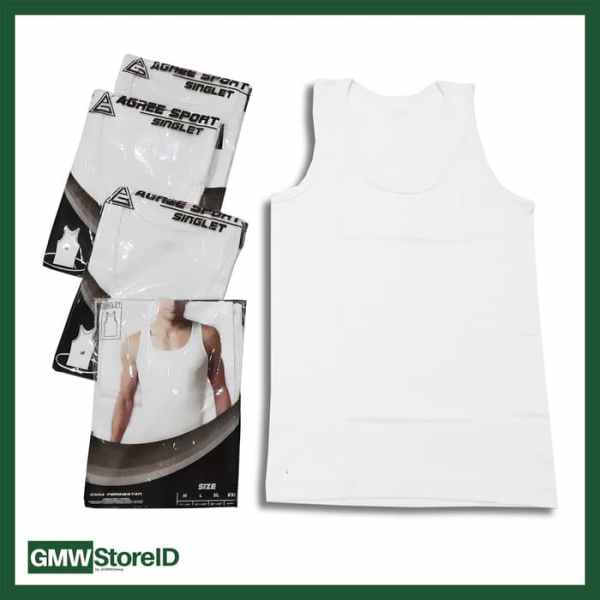 W452 Singlet Putih Pria Kaos Dalam Cowok Laki-Laki Agree Men Size M