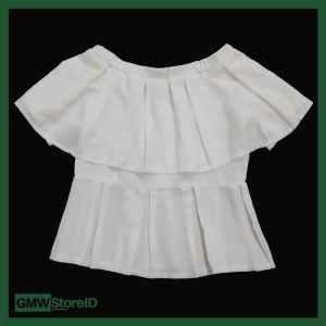 W482 Blouse Baju Pesta Wanita Putih Rampel Leher Sabrina RisletingBack