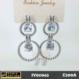 C200a Anting Premium Best Double Circle Swarovski Silver Platinum 5cm