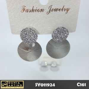 C161 Anting Giwang Double Round Kristal Silver Platinum Earrings 3cm