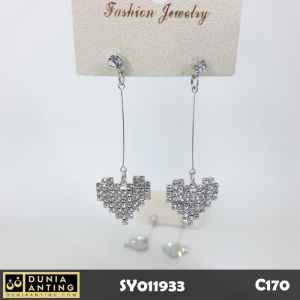 C170 Anting Tusuk Model Hati Permata Kristal Silver Long Earring 5,5cm