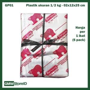 1 Ikat Plastik Kiloan Transparan Beruang 500gr 02x12x25 isi 50 GP01