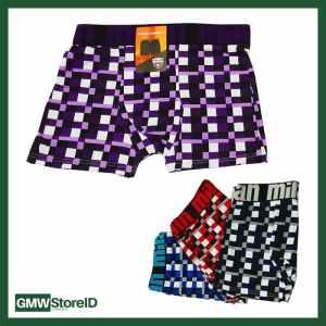 W417 Boxer Celana Motif Kotak Milan Size 2XL 3L XXL Ban Karet Random