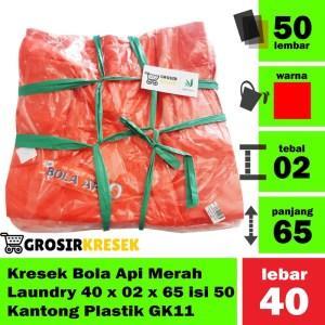 Kresek Bola Api Merah Laundry 40 x 02 x 65 isi 50 Kantong Plastik GK11