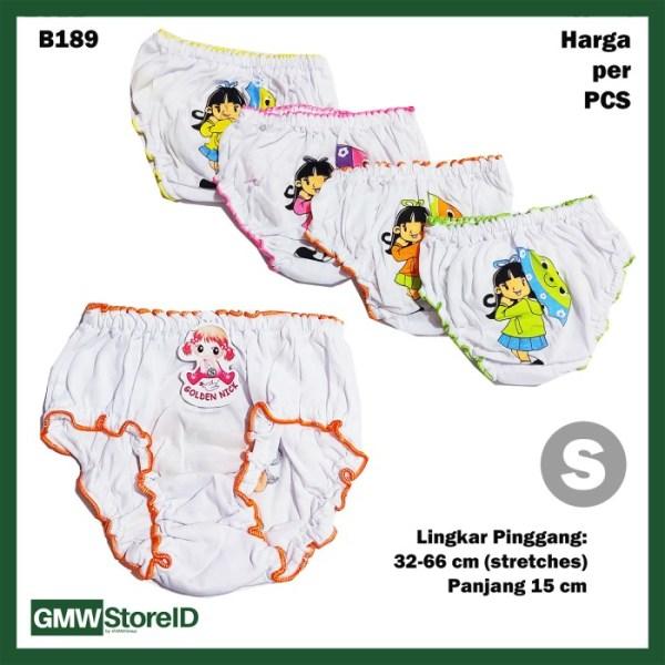 B189 Celana Dalam Bayi Sablon S Katun Putih CD Keriting Baby GN SNI
