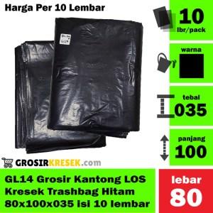 GL14 Grosir Kantong Kresek LOS Trashbag Hitam 80x100x035 isi 10 lbr