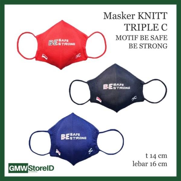 W757 Masker Knitt Motif Be Safe Be Strong Premium Mask Anti Debu Tebal