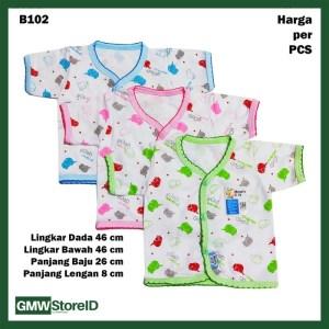 B102 Baju Bayi Lengan Pendek Kancing Renda Katun Baby Clothes SNI