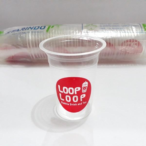 Gelas Plastik Loop Transparan 14 oz - 1 pak 50 pcs - W222