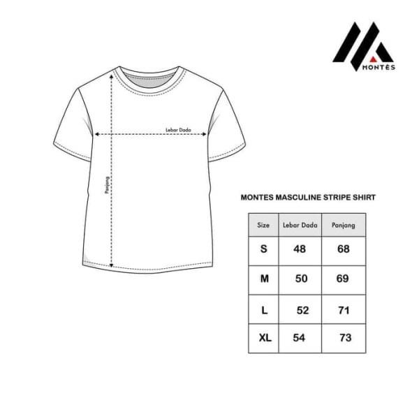 Kaos Berkantong Motif Garis Hitam Putih Modern Masculine Montes W312