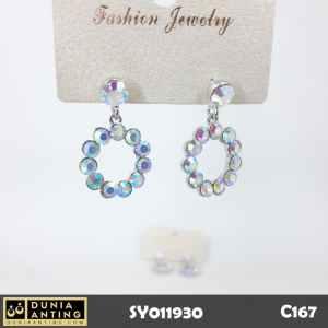 C167 Perhiasan Anting Permata Eleven Swarovski Ring Silver Platinum3cm