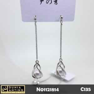 C135 Anting Tusuk Platinum Model Rantai 6,5cm Pearl Gem Earings